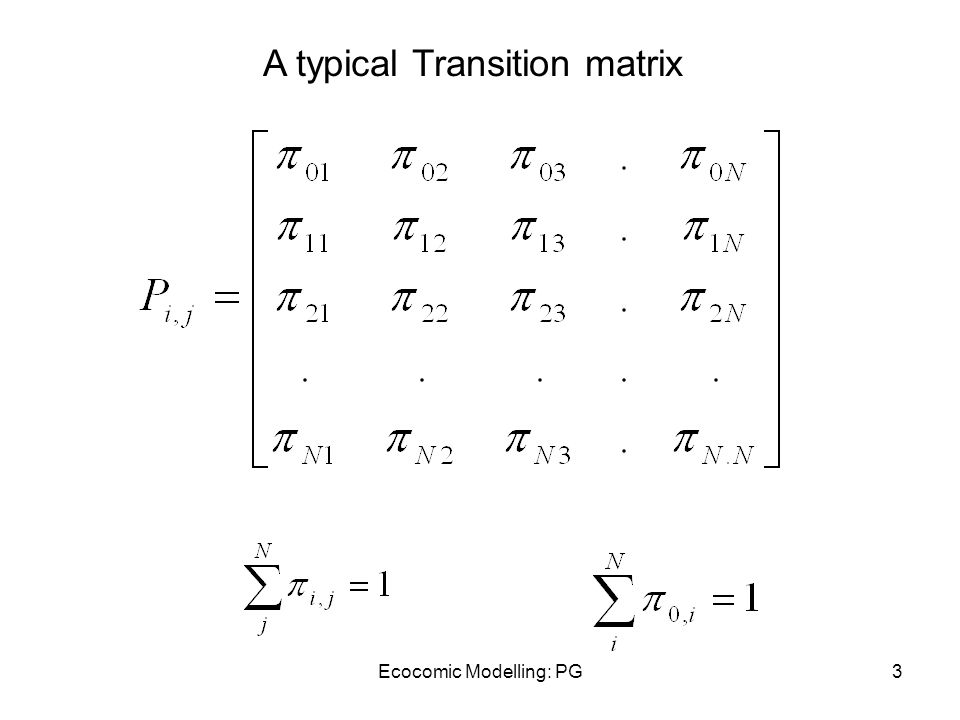 Ecocomic Modelling: PG3 A typical Transition matrix