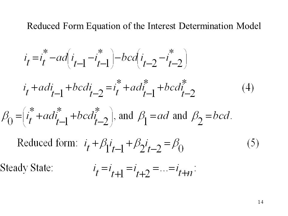 14 Reduced Form Equation of the Interest Determination Model