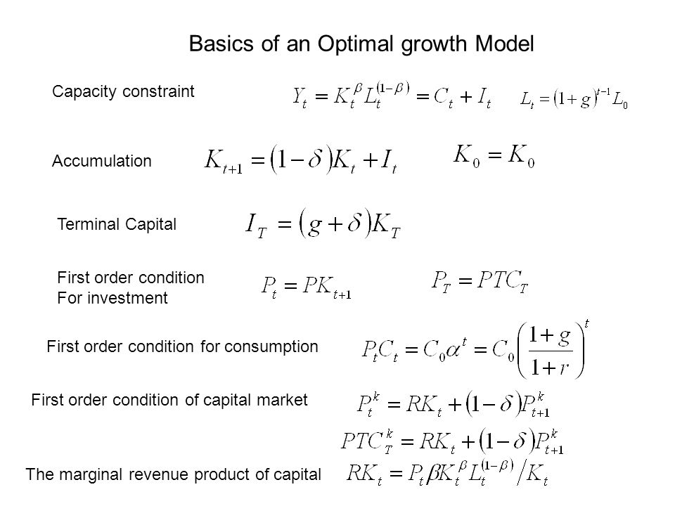 Basics of an Optimal growth Model Capacity constraint Accumulation Terminal Capital First order condition For investment First order condition for consumption First order condition of capital market The marginal revenue product of capital