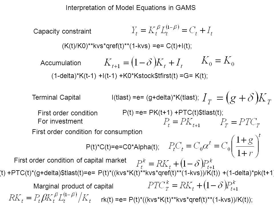 Capacity constraint Accumulation (K(t)/K0)**kvs*qref(t)**(1-kvs) =e= C(t)+I(t); (1-delta)*K(t-1) +I(t-1) +K0*Kstock$tfirst(t) =G= K(t); Terminal CapitalI(tlast) =e= (g+delta)*K(tlast); First order condition for consumption P(t)*C(t)=e=C0*Alpha(t); Pk(t) +PTC(t)*(g+delta)$tlast(t)=e= P(t)*((kvs*K(t)**kvs*qref(t)**(1-kvs))/K(t)) +(1-delta)*pk(t+1); First order condition of capital market P(t) =e= PK(t+1) +PTC(t)$tlast(t); First order condition For investment Marginal product of capital rk(t) =e= P(t)*((kvs*K(t)**kvs*qref(t)**(1-kvs))/K(t)); Interpretation of Model Equations in GAMS