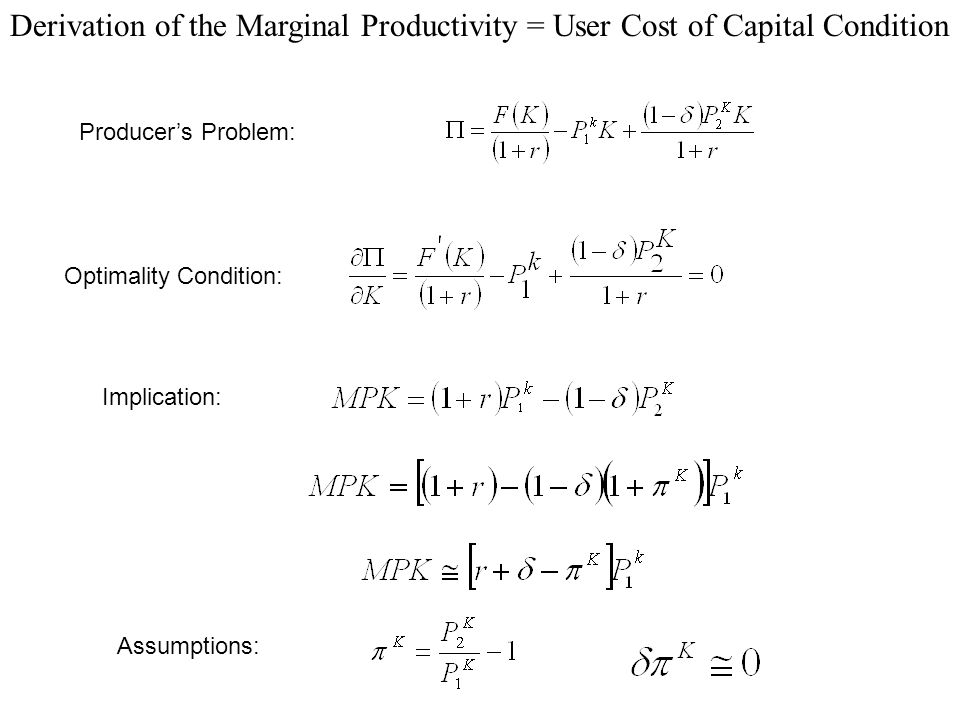 Derivation of the Marginal Productivity = User Cost of Capital Condition Producers Problem: Optimality Condition: Implication: Assumptions: