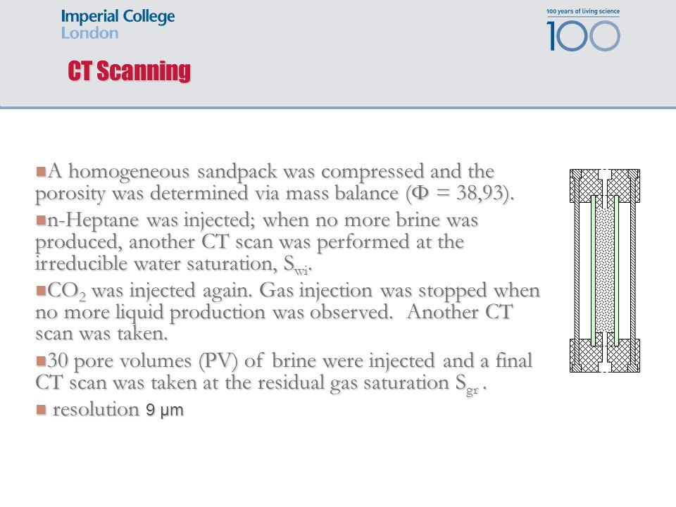 CT Scanning A homogeneous sandpack was compressed and the porosity was determined via mass balance (Φ = 38,93). A homogeneous sandpack was compressed