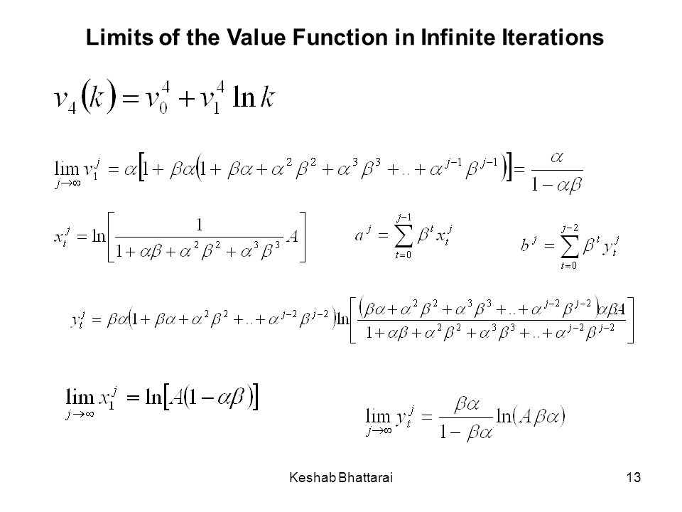 Keshab Bhattarai13 Limits of the Value Function in Infinite Iterations