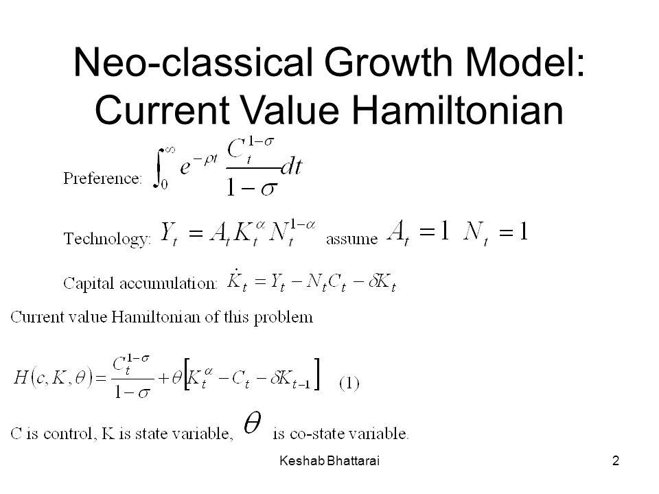 Keshab Bhattarai2 Neo-classical Growth Model: Current Value Hamiltonian