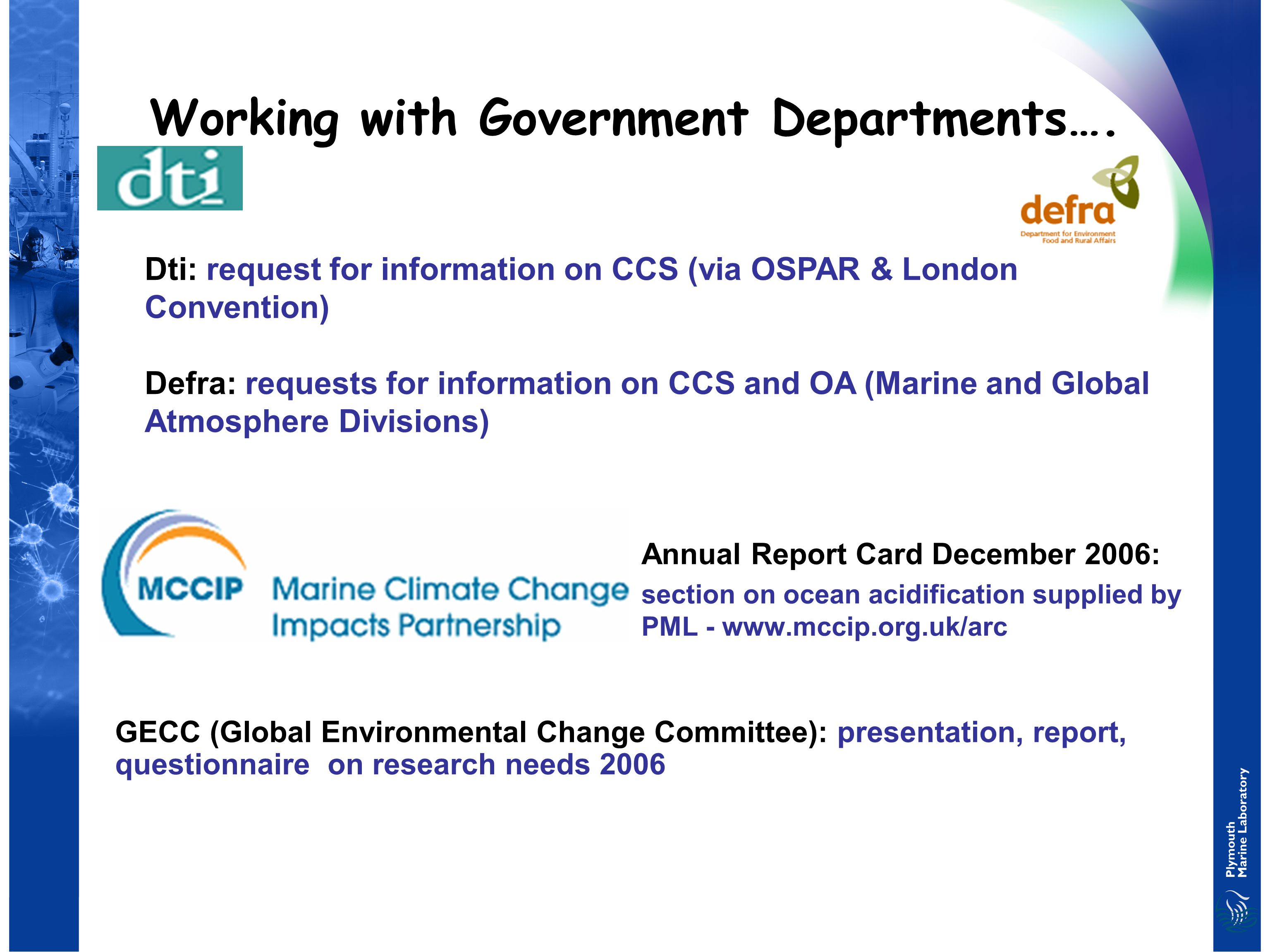 Working with Government Departments….