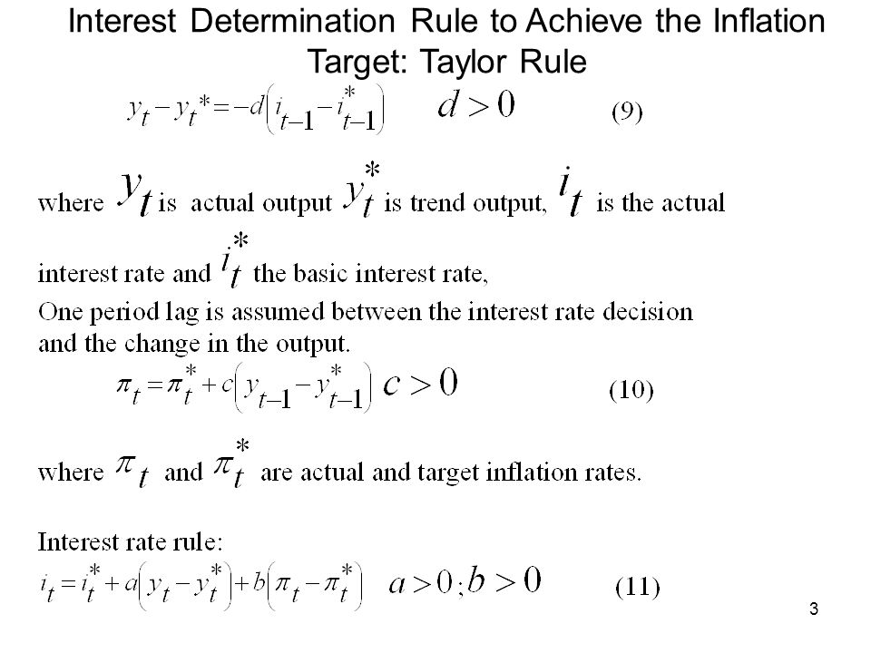 3 Interest Determination Rule to Achieve the Inflation Target: Taylor Rule