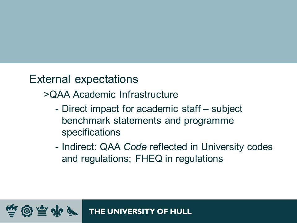External expectations >QAA Academic Infrastructure ­Direct impact for academic staff – subject benchmark statements and programme specifications ­Indirect: QAA Code reflected in University codes and regulations; FHEQ in regulations