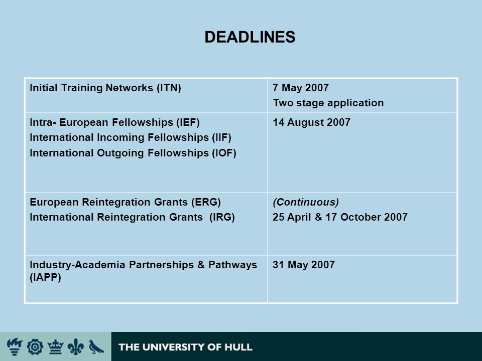 DEADLINES Initial Training Networks (ITN)7 May 2007 Two stage application Intra- European Fellowships (IEF) International Incoming Fellowships (IIF) I