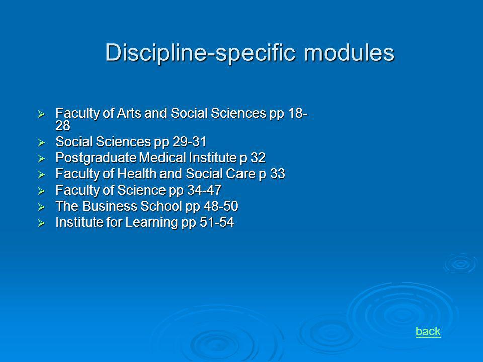 Discipline-specific modules Faculty of Arts and Social Sciences pp 18- 28 Faculty of Arts and Social Sciences pp 18- 28 Social Sciences pp 29-31 Socia