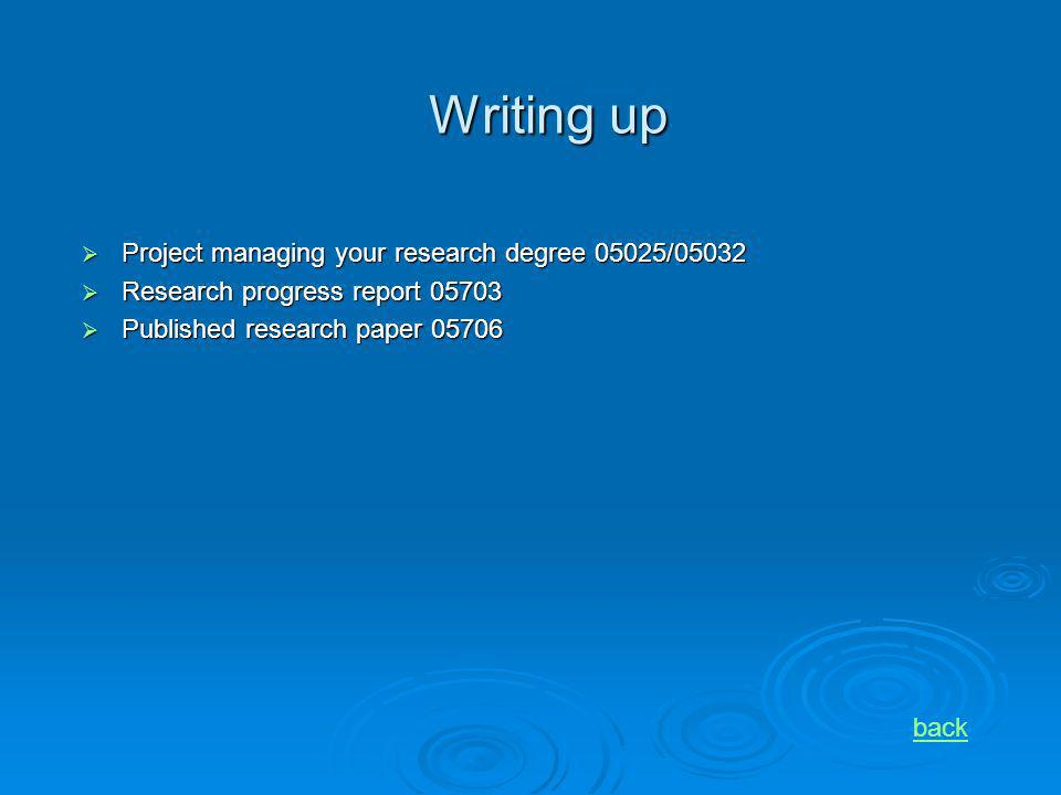 Writing up Project managing your research degree 05025/05032 Project managing your research degree 05025/05032 Research progress report 05703 Research