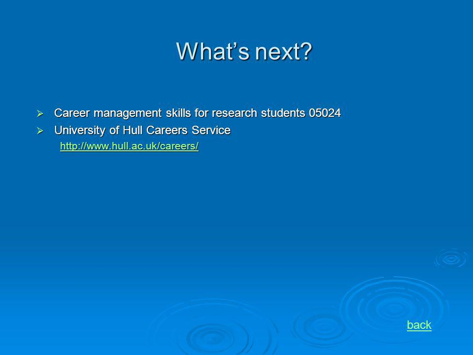 Whats next? Career management skills for research students 05024 Career management skills for research students 05024 University of Hull Careers Servi