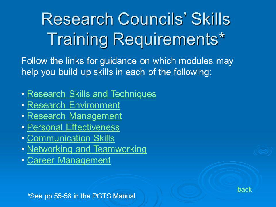 Research Councils Skills Training Requirements* Follow the links for guidance on which modules may help you build up skills in each of the following: