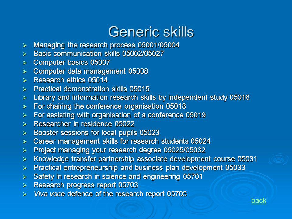 Generic skills Managing the research process 05001/05004 Managing the research process 05001/05004 Basic communication skills 05002/05027 Basic commun