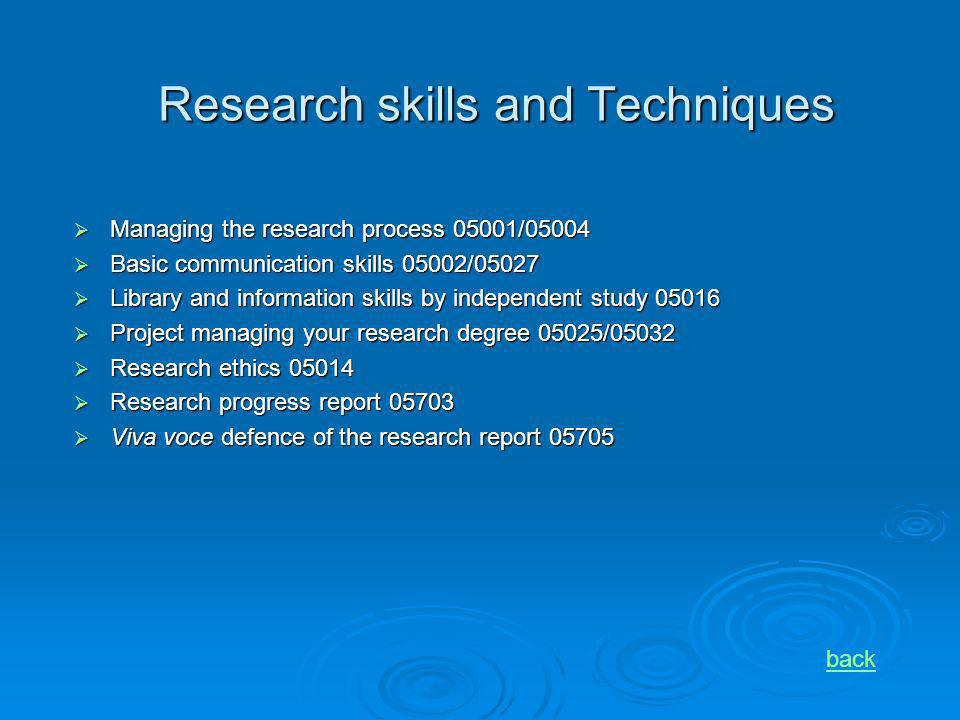 Research skills and Techniques Managing the research process 05001/05004 Managing the research process 05001/05004 Basic communication skills 05002/05