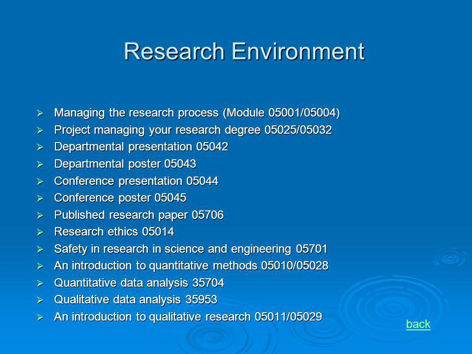 Research Environment Managing the research process (Module 05001/05004) Managing the research process (Module 05001/05004) Project managing your resea