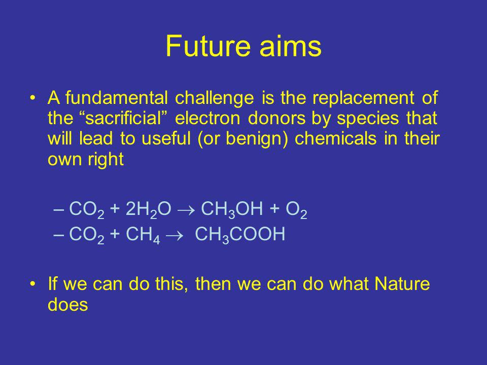 Future aims A fundamental challenge is the replacement of the sacrificial electron donors by species that will lead to useful (or benign) chemicals in their own right –CO 2 + 2H 2 O CH 3 OH + O 2 –CO 2 + CH 4 CH 3 COOH If we can do this, then we can do what Nature does