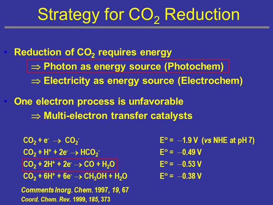Strategy for CO 2 Reduction Reduction of CO 2 requires energy Photon as energy source (Photochem) Electricity as energy source (Electrochem) One electron process is unfavorable Multi-electron transfer catalysts CO 2 + e - CO 2 - E = 1.9 V ( vs NHE at pH 7) CO 2 + H + + 2e - HCO 2 - E = 0.49 V CO 2 + 2H + + 2e - CO + H 2 O E = 0.53 V CO 2 + 6H + + 6e - CH 3 OH + H 2 O E = 0.38 V Comments Inorg.