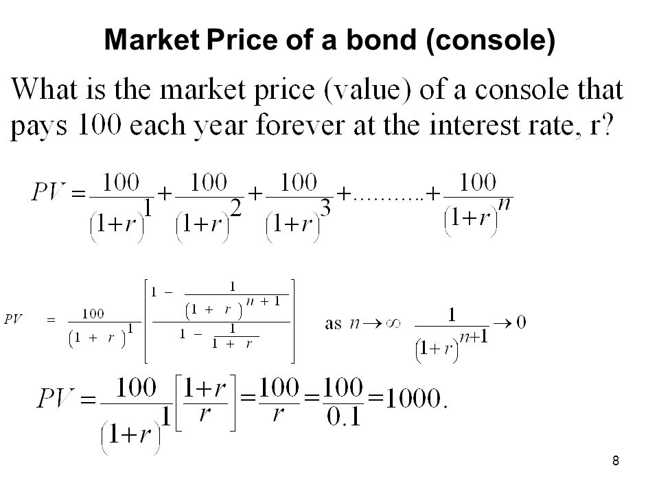 9 Market Prices of Bonds By Maturity One Period Bond: Two Period Bond: Derivation