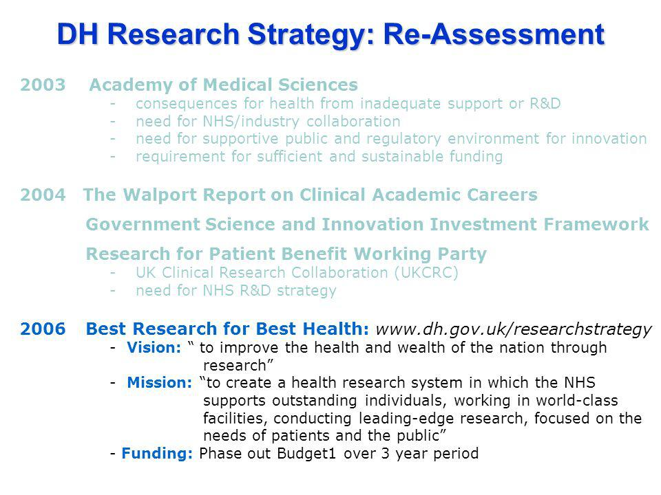 2003 Academy of Medical Sciences -consequences for health from inadequate support or R&D -need for NHS/industry collaboration -need for supportive pub