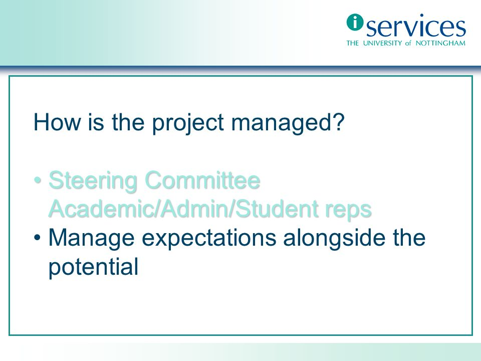 How is the project managed.