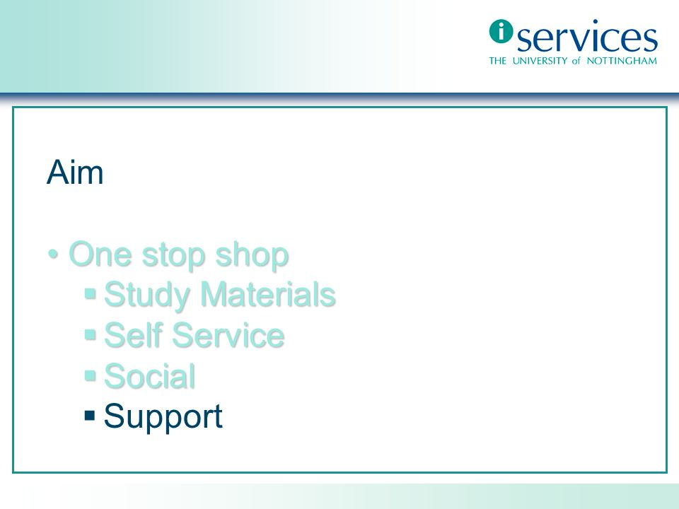 Aim One stop shopOne stop shop Study Materials Study Materials Self Service Self Service Social Social Support