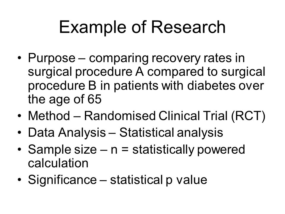 Example of Research Purpose – comparing recovery rates in surgical procedure A compared to surgical procedure B in patients with diabetes over the age