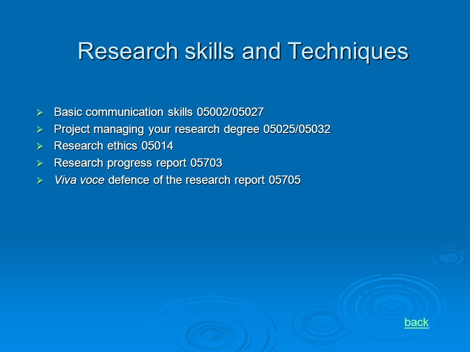 Research skills and Techniques Basic communication skills 05002/05027 Basic communication skills 05002/05027 Project managing your research degree 05025/05032 Project managing your research degree 05025/05032 Research ethics 05014 Research ethics 05014 Research progress report 05703 Research progress report 05703 Viva voce defence of the research report 05705 Viva voce defence of the research report 05705 back
