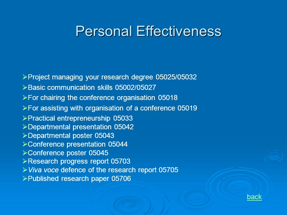 Personal Effectiveness back Project managing your research degree 05025/05032 Basic communication skills 05002/05027 For chairing the conference organisation 05018 For assisting with organisation of a conference 05019 Practical entrepreneurship 05033 Departmental presentation 05042 Departmental poster 05043 Conference presentation 05044 Conference poster 05045 Research progress report 05703 Viva voce defence of the research report 05705 Published research paper 05706