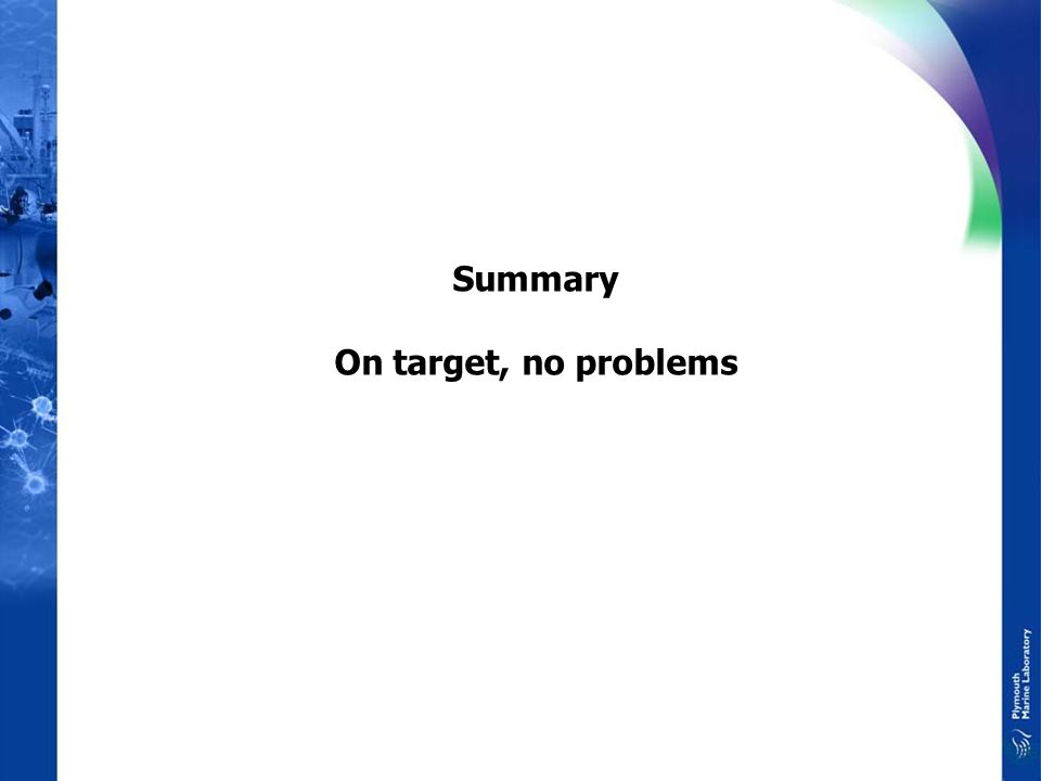 Summary On target, no problems