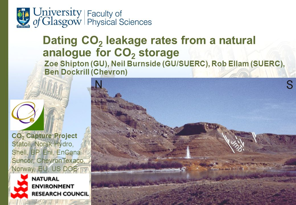 Dating CO 2 leakage rates from a natural analogue for CO 2 storage Zoe Shipton (GU), Neil Burnside (GU/SUERC), Rob Ellam (SUERC), Ben Dockrill (Chevro