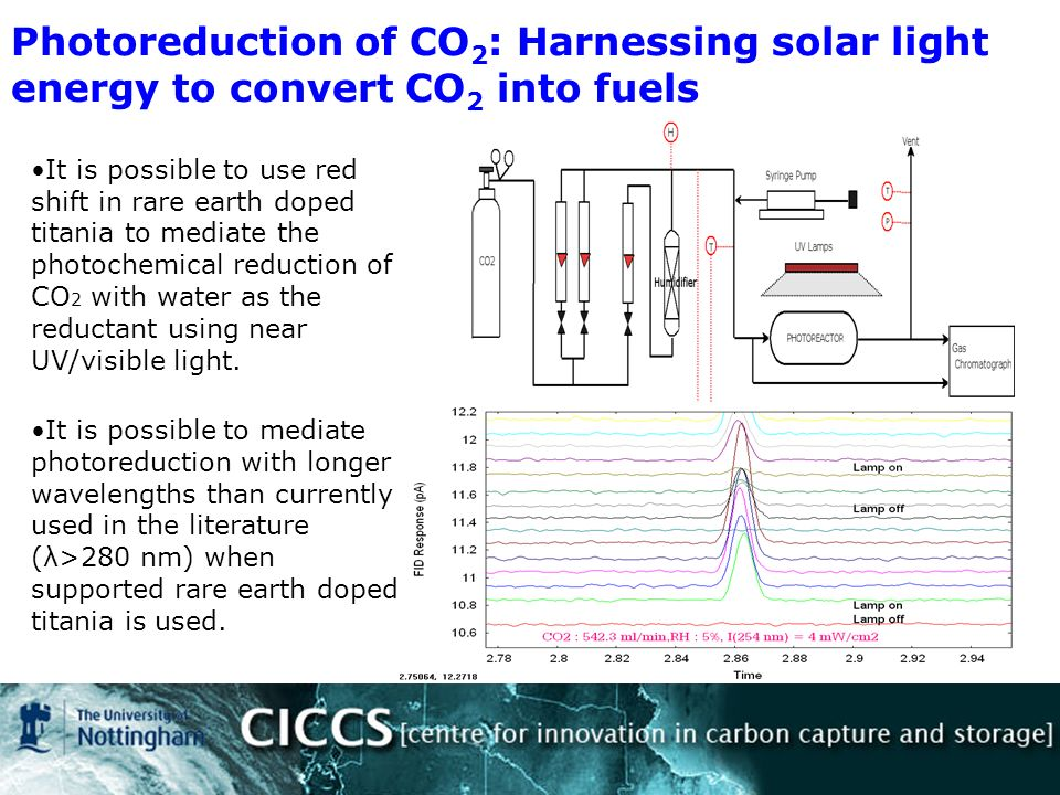 Photoreduction of CO 2 : Harnessing solar light energy to convert CO 2 into fuels It is possible to use red shift in rare earth doped titania to mediate the photochemical reduction of CO 2 with water as the reductant using near UV/visible light.