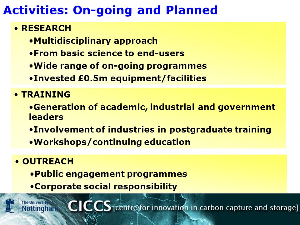 Activities: On-going and Planned RESEARCH Multidisciplinary approach From basic science to end-users Wide range of on-going programmes Invested £0.5m equipment/facilities TRAINING Generation of academic, industrial and government leaders Involvement of industries in postgraduate training Workshops/continuing education OUTREACH Public engagement programmes Corporate social responsibility