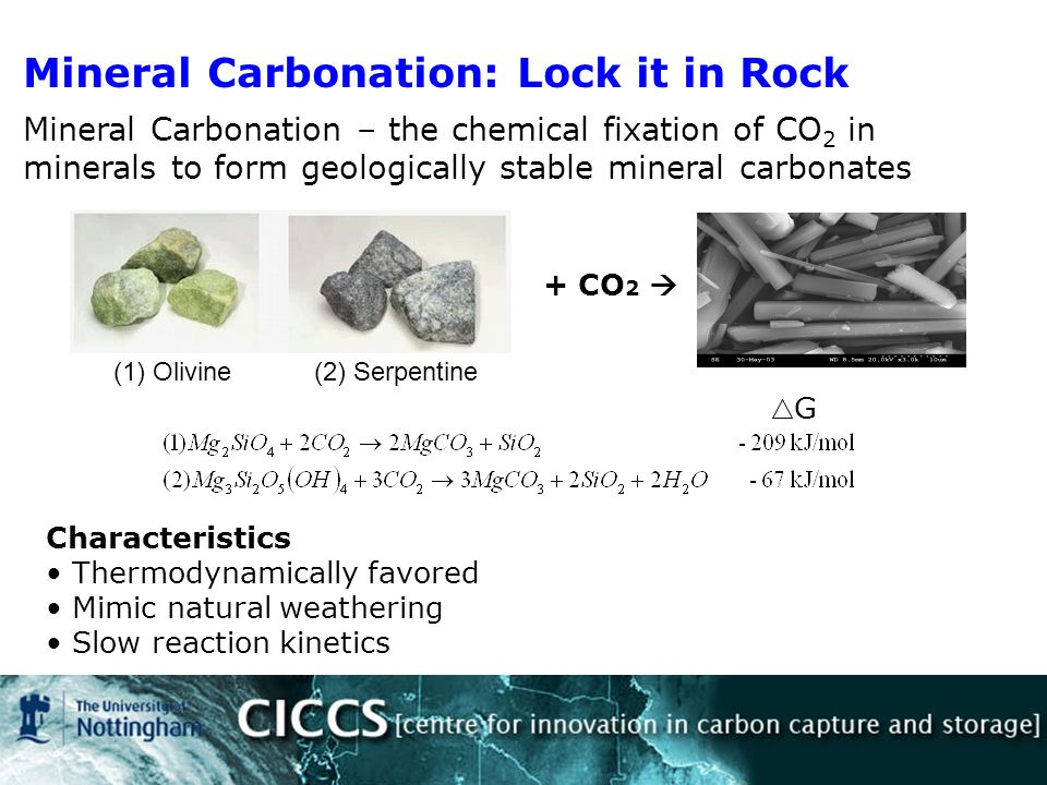 (1) Olivine(2) Serpentine Characteristics Thermodynamically favored Mimic natural weathering Slow reaction kinetics G Mineral Carbonation: Lock it in Rock Mineral Carbonation – the chemical fixation of CO 2 in minerals to form geologically stable mineral carbonates + CO 2