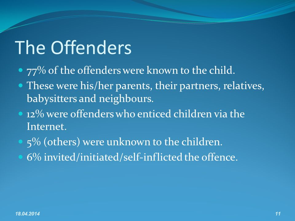 The Offenders 77% of the offenders were known to the child.