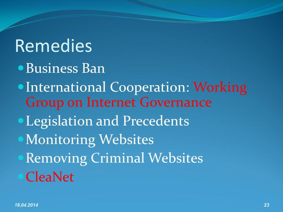 Remedies Business Ban International Cooperation: Working Group on Internet Governance Legislation and Precedents Monitoring Websites Removing Criminal Websites CleaNet 18.04.201423