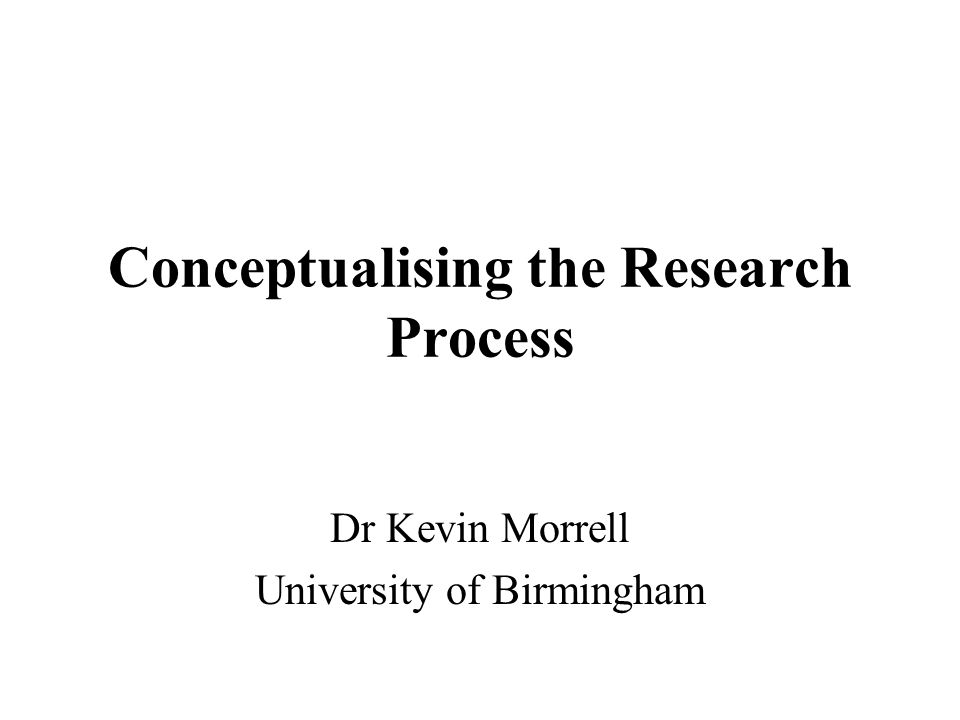 Conceptualising the Research Process Dr Kevin Morrell University of Birmingham