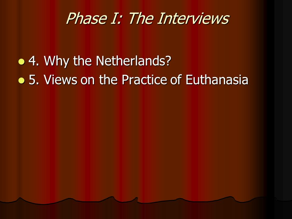 Phase I: The Interviews 4. Why the Netherlands. 4.