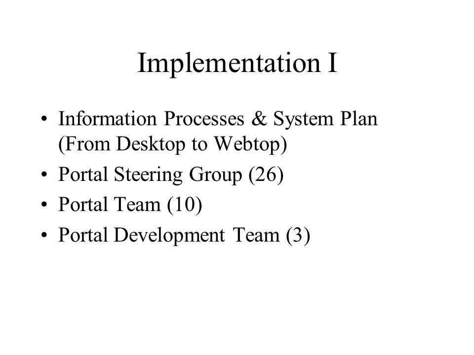 Implementation I Information Processes & System Plan (From Desktop to Webtop) Portal Steering Group (26) Portal Team (10) Portal Development Team (3)