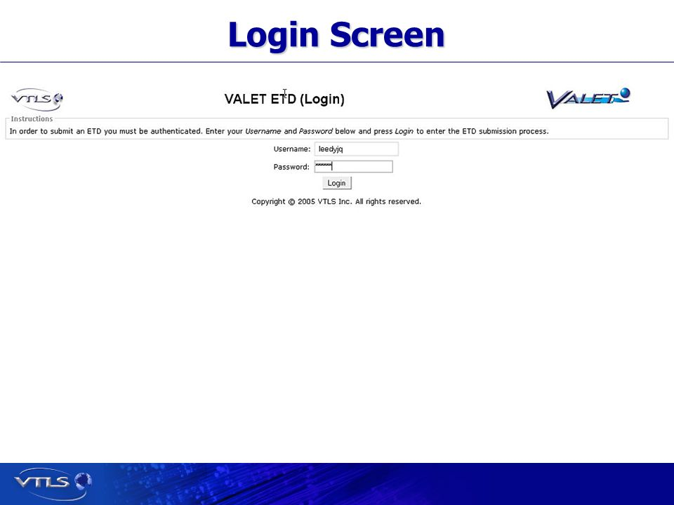 Visionary Technology in Library Solutions Login Screen