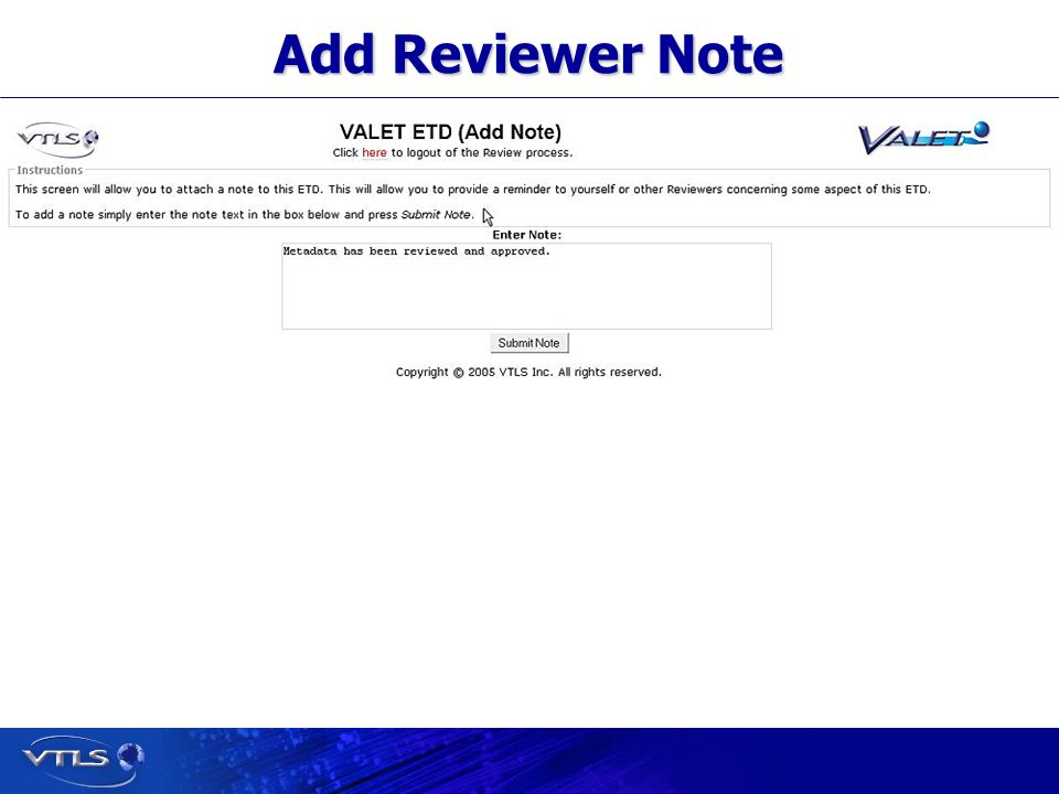 Visionary Technology in Library Solutions Add Reviewer Note
