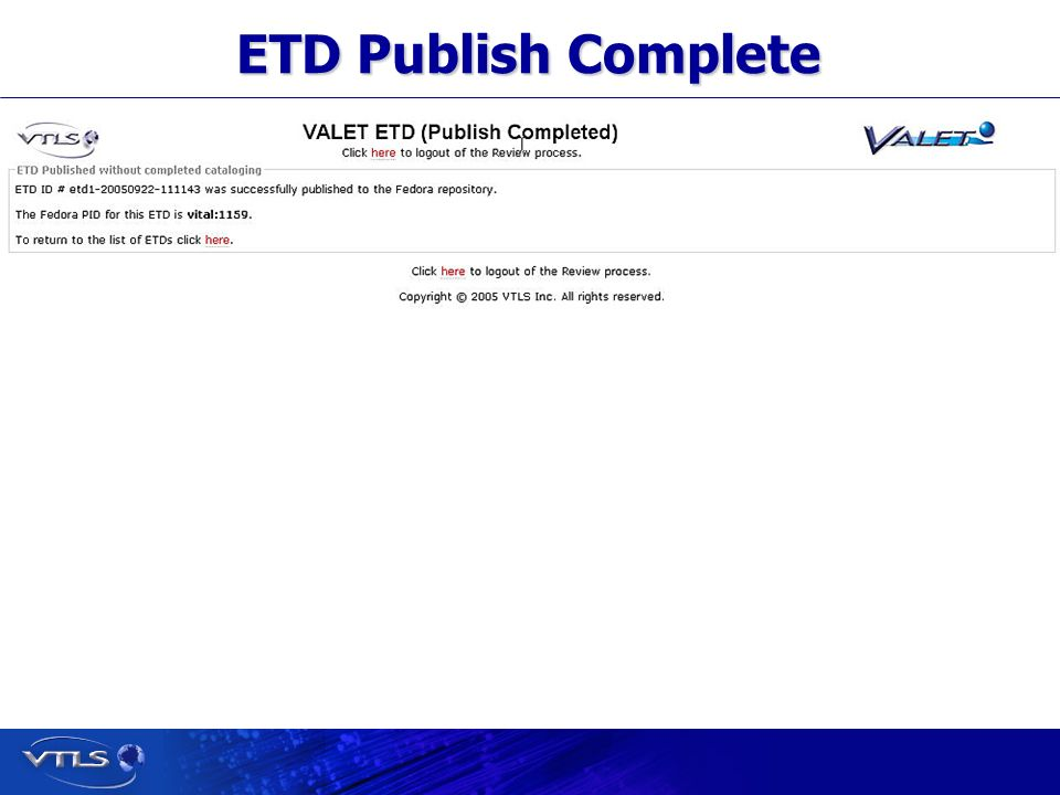 Visionary Technology in Library Solutions ETD Publish Complete