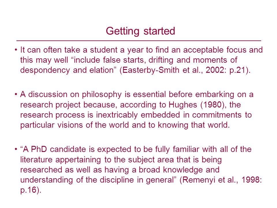 Getting started It can often take a student a year to find an acceptable focus and this may well include false starts, drifting and moments of despond