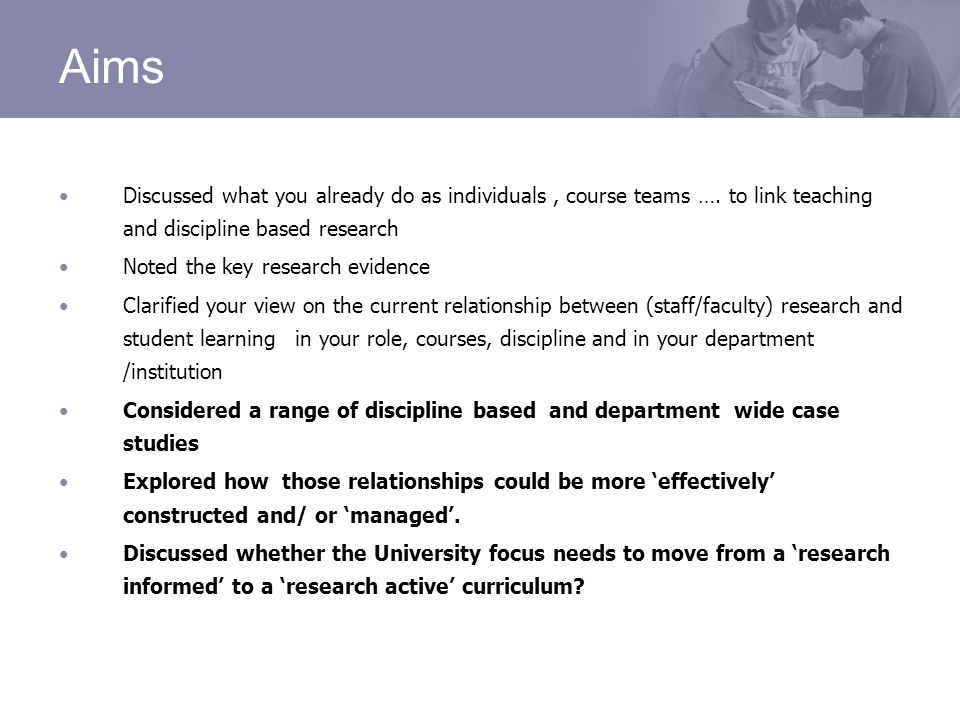 Aims Discussed what you already do as individuals, course teams ….