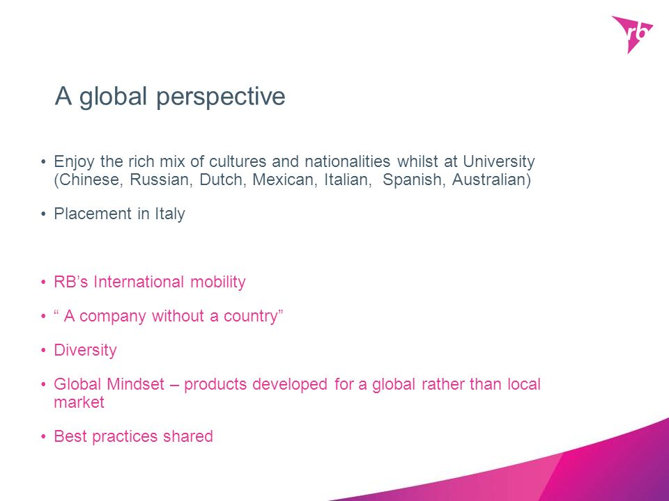 A global perspective Enjoy the rich mix of cultures and nationalities whilst at University (Chinese, Russian, Dutch, Mexican, Italian, Spanish, Austra