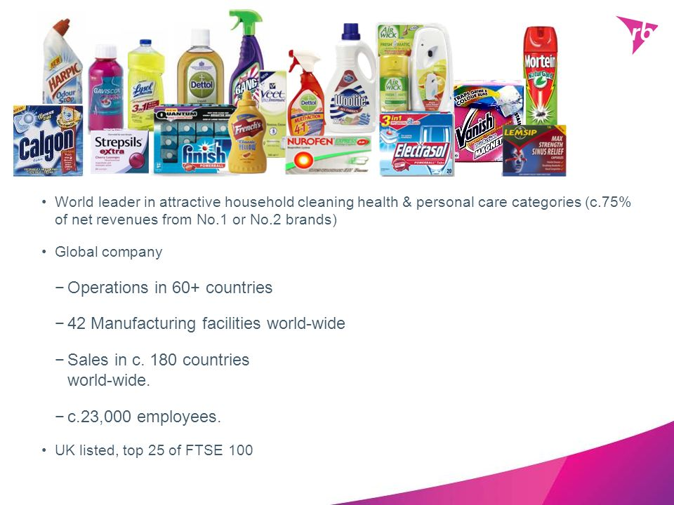 World leader in attractive household cleaning health & personal care categories (c.75% of net revenues from No.1 or No.2 brands) Global company Operat