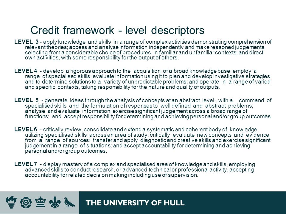Credit framework - level descriptors LEVEL 3 - apply knowledge and skills in a range of complex activities demonstrating comprehension of relevant theories; access and analyse information independently and make reasoned judgements, selecting from a considerable choice of procedures, in familiar and unfamiliar contexts; and direct own activities, with some responsibility for the output of others.