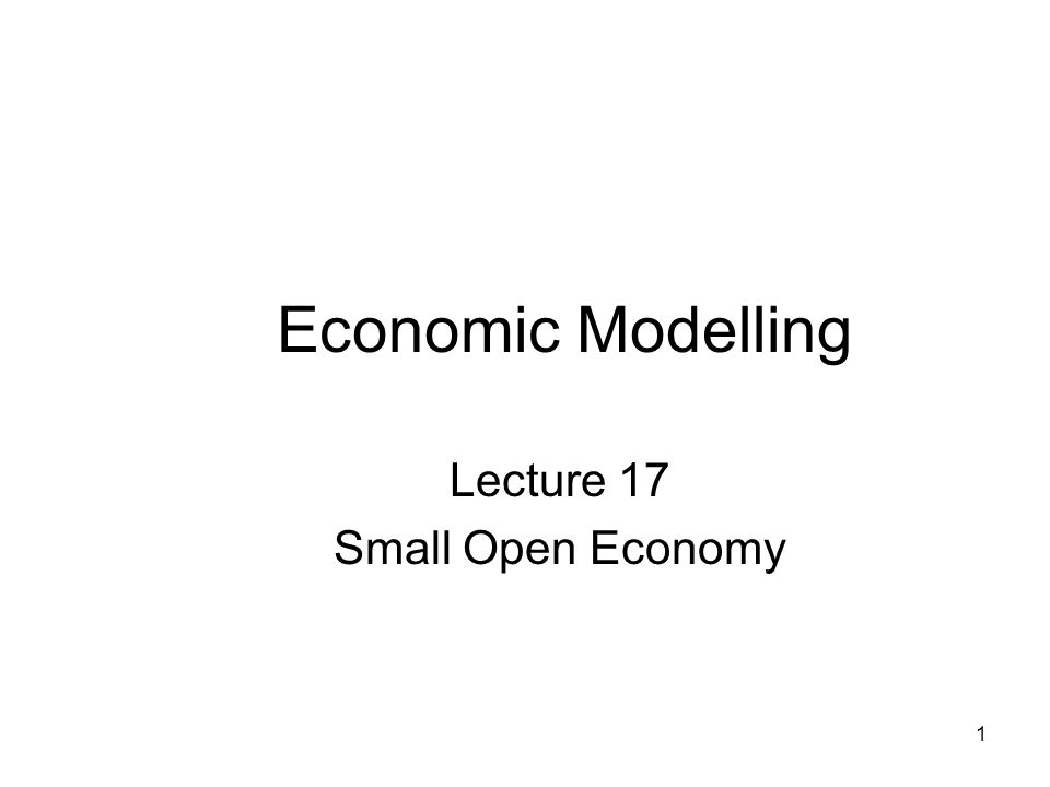 1 Economic Modelling Lecture 17 Small Open Economy