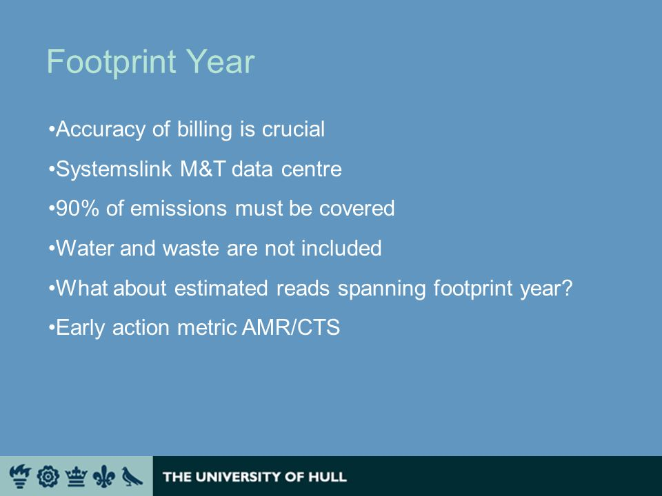 Footprint Year Accuracy of billing is crucial Systemslink M&T data centre 90% of emissions must be covered Water and waste are not included What about estimated reads spanning footprint year.