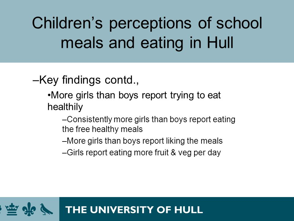 Childrens perceptions of school meals and eating in Hull –Key findings contd., More girls than boys report trying to eat healthily –Consistently more