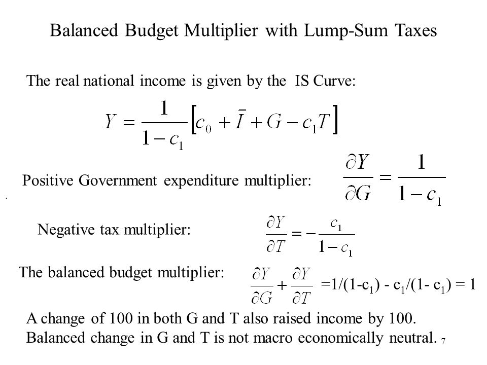 7 Balanced Budget Multiplier with Lump-Sum Taxes. =1/(1-c 1 ) - c 1 /(1- c 1 ) = 1 The real national income is given by the IS Curve: Positive Governm
